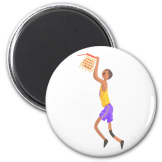 Basketball Player Hanging On Goal Action Sticker Magnet