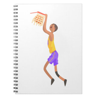 Basketball Player Hanging On Goal Action Sticker Notebook