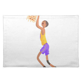 Basketball Player Hanging On Goal Action Sticker Placemat