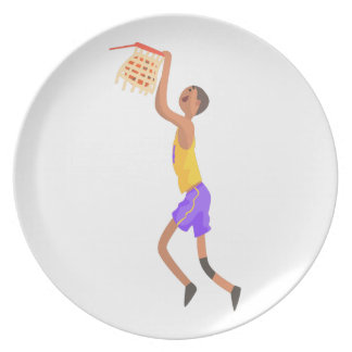 Basketball Player Hanging On Goal Action Sticker Plate