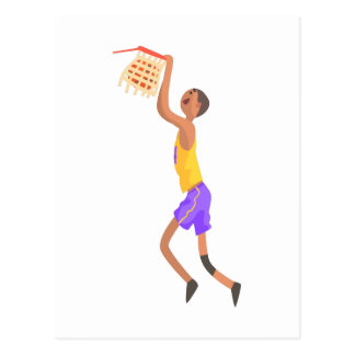 Basketball Player Hanging On Goal Action Sticker Postcard