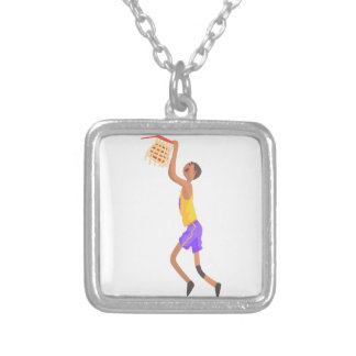 Basketball Player Hanging On Goal Action Sticker Silver Plated Necklace
