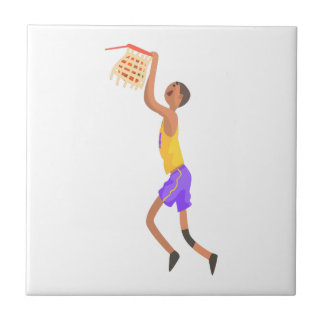 Basketball Player Hanging On Goal Action Sticker Tile