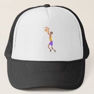 Basketball Player Hanging On Goal Action Sticker Trucker Hat