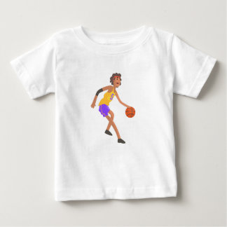 Basketball Player In Red Headband Action Sticker Baby T-Shirt