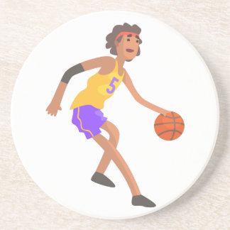 Basketball Player In Red Headband Action Sticker Coaster