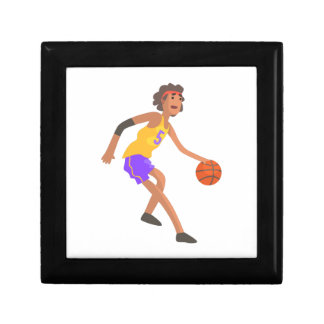 Basketball Player In Red Headband Action Sticker Gift Box
