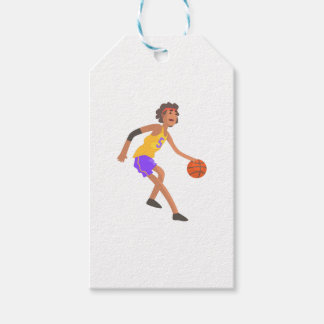 Basketball Player In Red Headband Action Sticker Gift Tags