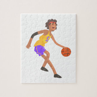 Basketball Player In Red Headband Action Sticker Jigsaw Puzzle
