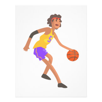 Basketball Player In Red Headband Action Sticker Letterhead