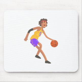 Basketball Player In Red Headband Action Sticker Mouse Pad