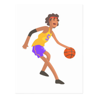 Basketball Player In Red Headband Action Sticker Postcard
