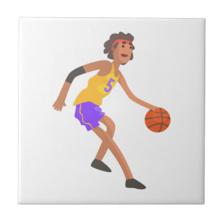 Basketball Player In Red Headband Action Sticker Tile