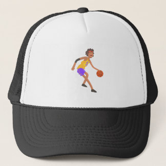 Basketball Player In Red Headband Action Sticker Trucker Hat