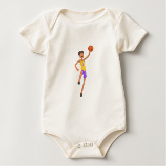 Basketball Player Jumping Action Sticker Baby Bodysuit
