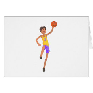 Basketball Player Jumping Action Sticker Card