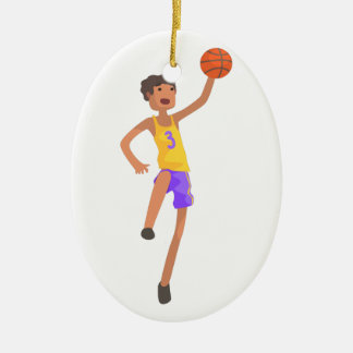 Basketball Player Jumping Action Sticker Ceramic Ornament