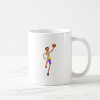 Basketball Player Jumping Action Sticker Coffee Mug