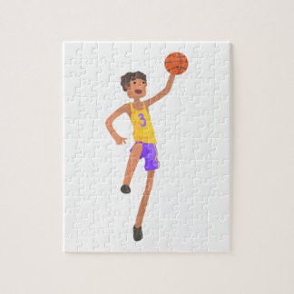 Basketball Player Jumping Action Sticker Jigsaw Puzzle