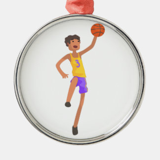 Basketball Player Jumping Action Sticker Metal Ornament