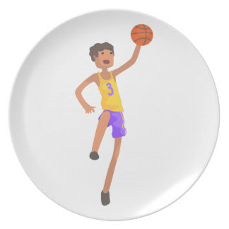 Basketball Player Jumping Action Sticker Plate