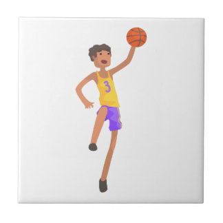 Basketball Player Jumping Action Sticker Tile