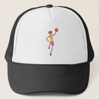 Basketball Player Jumping Action Sticker Trucker Hat