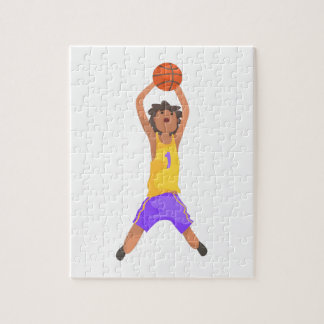 Basketball Player Jumping And Throwing Action Stic Jigsaw Puzzle