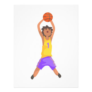 Basketball Player Jumping And Throwing Action Stic Letterhead