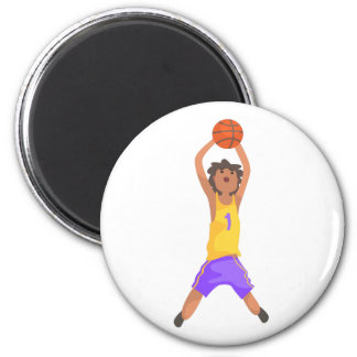 Basketball Player Jumping And Throwing Action Stic Magnet