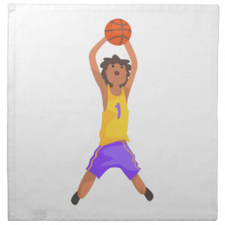Basketball Player Jumping And Throwing Action Stic Napkin