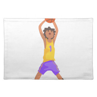 Basketball Player Jumping And Throwing Action Stic Placemat