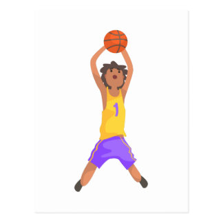 Basketball Player Jumping And Throwing Action Stic Postcard