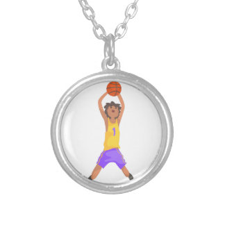 Basketball Player Jumping And Throwing Action Stic Silver Plated Necklace