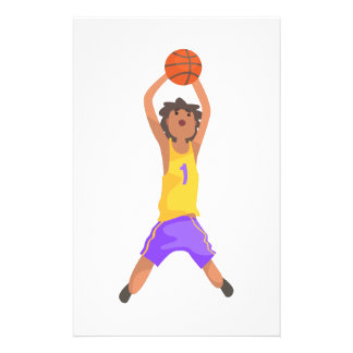 Basketball Player Jumping And Throwing Action Stic Stationery