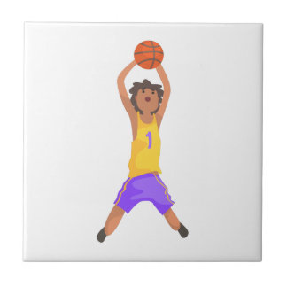 Basketball Player Jumping And Throwing Action Stic Tile