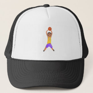 Basketball Player Jumping And Throwing Action Stic Trucker Hat
