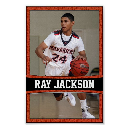 Basketball Player Name & Photo Sports Poster
