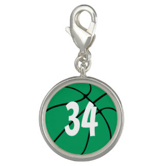 Basketball Player Number or Initials Green Bball Photo Charms