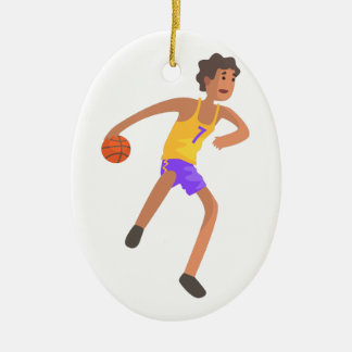 Basketball Player Passing The Ball Action Sticker Ceramic Ornament
