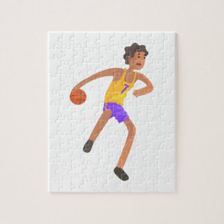 Basketball Player Passing The Ball Action Sticker Jigsaw Puzzle