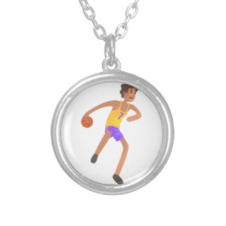 Basketball Player Passing The Ball Action Sticker Silver Plated Necklace