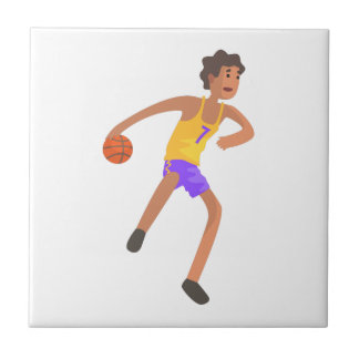Basketball Player Passing The Ball Action Sticker Tile