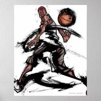 Basketball player playing with basketball poster