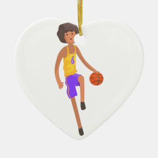 Basketball Player Running With Ball Action Sticker Ceramic Ornament