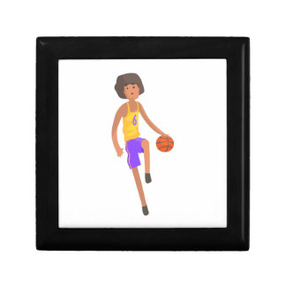 Basketball Player Running With Ball Action Sticker Gift Box