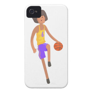 Basketball Player Running With Ball Action Sticker iPhone 4 Cover