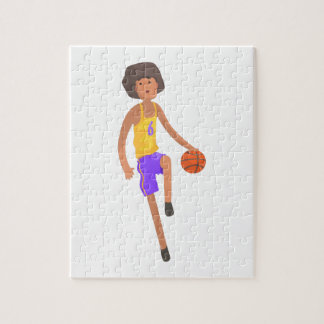 Basketball Player Running With Ball Action Sticker Jigsaw Puzzle