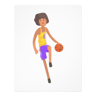 Basketball Player Running With Ball Action Sticker Letterhead