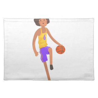 Basketball Player Running With Ball Action Sticker Placemat